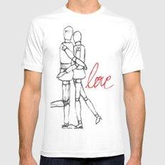 Love II MEDIUM White Mens Fitted Tee