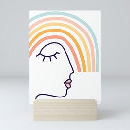 Rainbow Head #lineart Mini Art Print