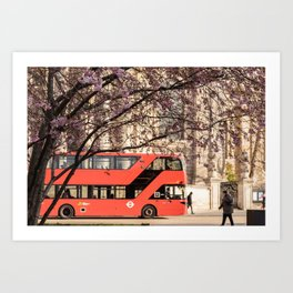 London Travel Spring Photography, Pink Flowers in Bloom and Red Double Decker Bus Art Print