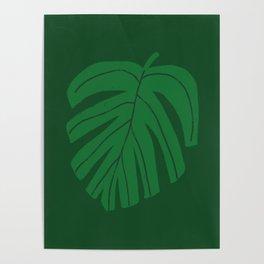 Green Monstera Leaf Poster