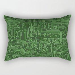 Circuit Board // Light on Dark Green Rectangular Pillow