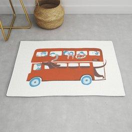Dachshund on a London bus Rug