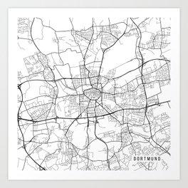 dortmund map germany black and white art print