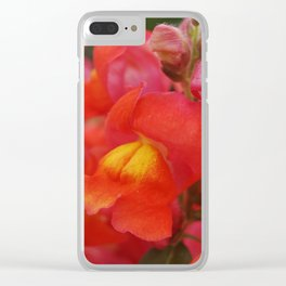 Pink- Orange Snapdragons Clear iPhone Case