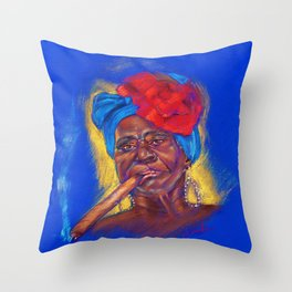 Cigar Woman Throw Pillow