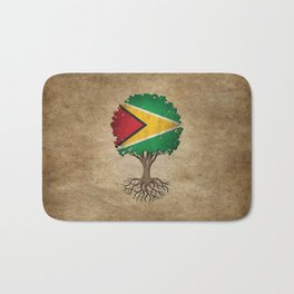 Vintage Tree of Life with Flag of Guyana Bath Mat