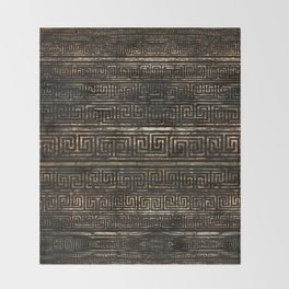 Wooden Greek Meander Pattern - Greek Key Ornament Throw Blanket