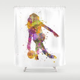 Young Woman playing bowling 01 Shower Curtain