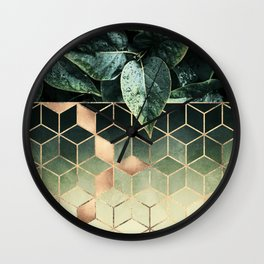 Leaves And Cubes 2 Wall Clock
