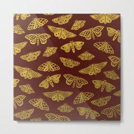 Golden Moths in Red Metal Print