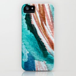 Here's to the Dreamers: a minimal, watercolor abstract piece in pinks, green, blue, and white iPhone Case