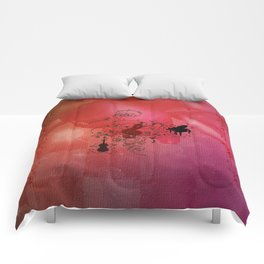 Music, decorative clef with piano and guitar Comforters
