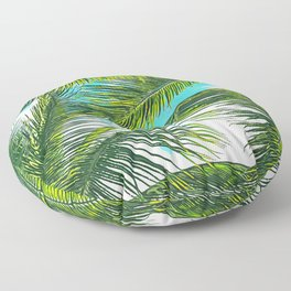 Life Under Palm Trees, Colorful Bohemian Beachy, Tropical Travel Nature Graphic Design Floor Pillow