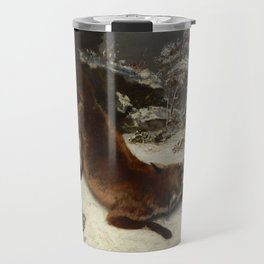 Fox in the Snow by Gustave Courbet Travel Mug