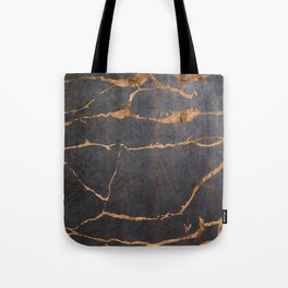 Scratched Suede and Gold Cracks Abstract Tote Bag