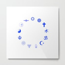 Religions of the World Blue Metal Print