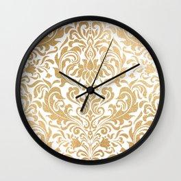 Gold foil swirls damask #12 Wall Clock