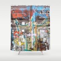 grafitti Shower Curtains featuring DOOR by  ECOLARTE