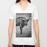 buffalo V-neck T-shirts featuring Buffalo by davehare