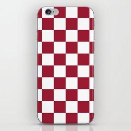 Crimson Red Checkered Pattern iPhone Skin