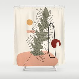 Minimal Line Palm Shower Curtain
