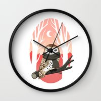 brown Wall Clocks featuring Winter Owl by Freeminds