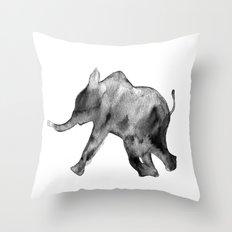 Baby elephant, black and white Throw Pillow