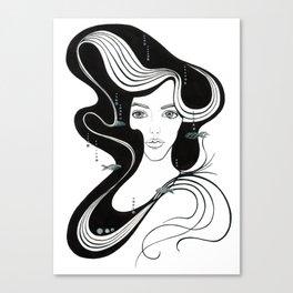mermaid silver fish Canvas Print