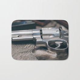 Closeup of powerful handgun. Pistol Revolver Handgun Bath Mat