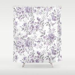 FLORAL VINTAGE ROSES MAUVE WHITE Shower Curtain