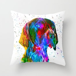 German Shorthaired Pointer Low Poly Throw Pillow