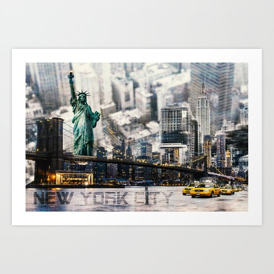 New York City - Collage Art Print