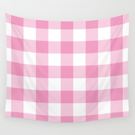 Light Pink Gingham Pattern Wall Tapestry