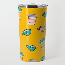 Happy coffee cups and mugs in yellow background Travel Mug