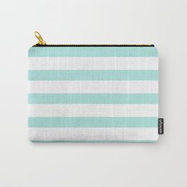 Aqua blue and White stripes lines - horizontal Carry-All Pouch