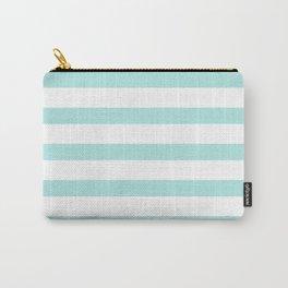 Aqua blue and White stripes lines - horizontal Carry-All Pouch
