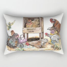 """""""Life in the Coop"""" funny chicken watercolor Rectangular Pillow"""