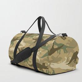 Camouflage Dinosaur Print Olive Green Khaki Tan Duffle Bag