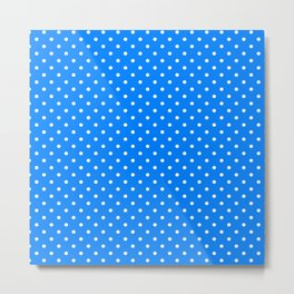 Dots (White/Azure) Metal Print
