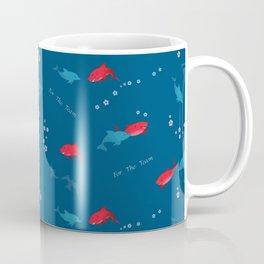 Blue Dolphin and Red Shark Coffee Mug