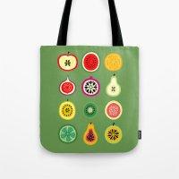 vector Tote Bags featuring Banca de Frutas by Marcelo Romero