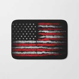Red & white Grunge American flag Bath Mat