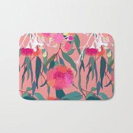 Australian Gumnut Eucalyptus Floral in Dusty Peach Bath Mat