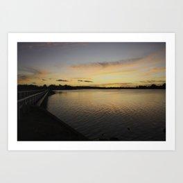 Sunset over the river Art Print