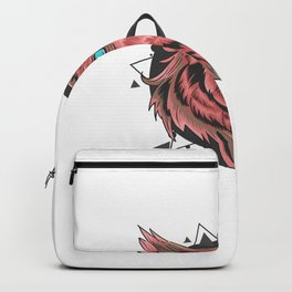 Owl Skull With Horn Fire Ornament Ornament Vintage Look With Gold Leaf Artwork Is Editable Layers Backpack