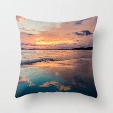 Beautiful Summer Beach Sunset Reflection Throw Pillow