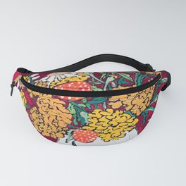 Marigold, Daisy and Wildflower Bouquet Fall Floral Still Life Painting on Eggplant Purple Fanny Pack