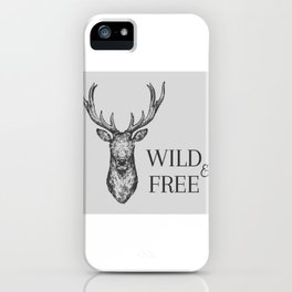 Grey Wild & Free Stag Traveller Deer iPhone Case