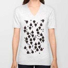 Monochrome waterdrops pattern. Unisex V-Neck