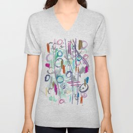 Abstract with Lines and Cercles Unisex V-Neck